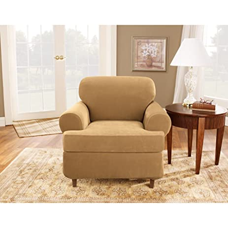 Sure Fit Stretch Pique T Cushion Three Piece Chair Slipcover