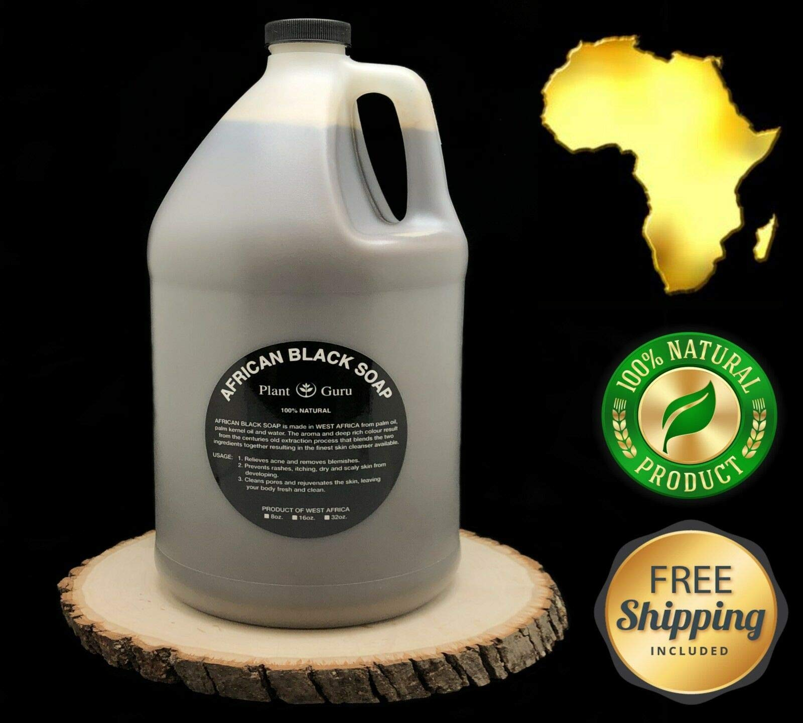 African Black Soap Liquid Gallon 100% Raw Pure Natural From Ghana, Acne Treatment, Aids Against Eczema & Psoriasis, Dry Skin, Scar and Dark spot Removal, Pimples and Blackhead, Face & Body Wash