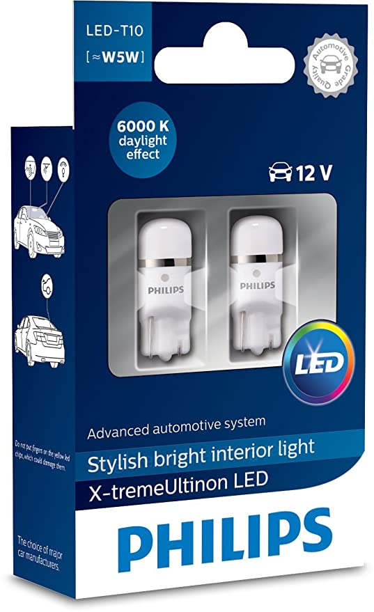 Philips 12799I60X2 X-tremeUltinon LED luz interior para coche W5W T10 6000K 12V, 2