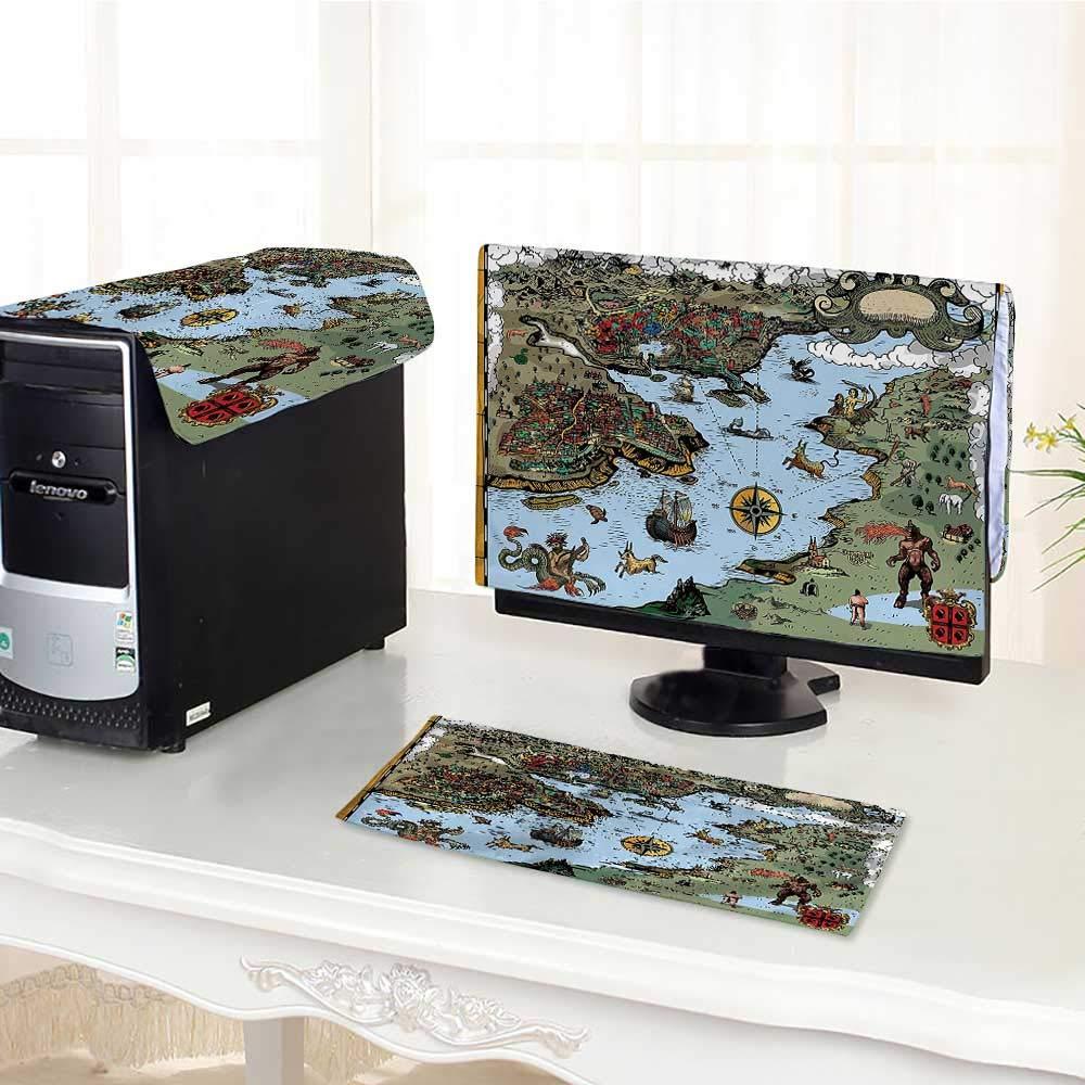 Auraisehome コンピュータ 防塵 3ピースコレクション 色落ち アンティーク調 宝物の地図 ショーアイランド 海岸とコンパススター付き LED LCD画面用 フラットパネル HDディスプレイ/17インチ W28
