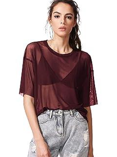 5e3c57e53adf8 MAKEMECHIC Women s Summer Half Sleeve Tops See Through Mesh Sheer Sexy T- Shirt Blouse