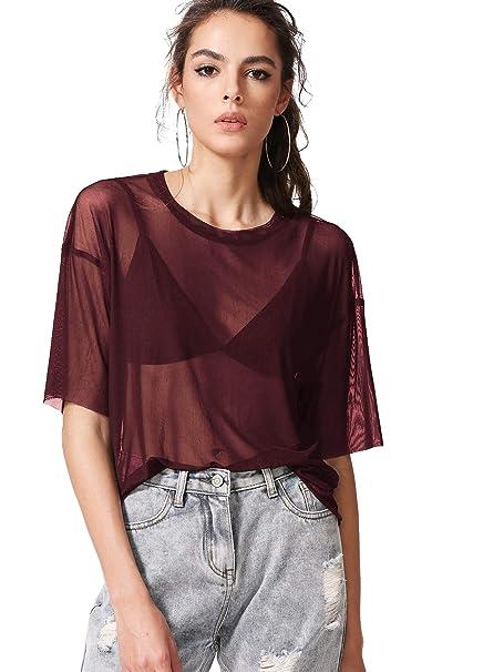da37a570a4b112 MAKEMECHIC Women s Summer Half Sleeve Tops See Through Mesh Sheer Sexy T-Shirt  Blouse 1