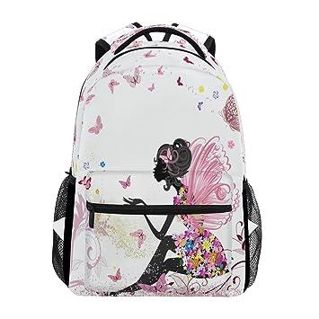 Wamika - Mochila para ordenador portátil, diseño de hada con mariposa, color rosa y floral, resistente al agua: Amazon.es: Oficina y papelería