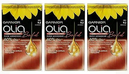Garnier Olia - Coloración para el cabello (3 unidades, oro rosado, sin amoniaco, 3 unidades)