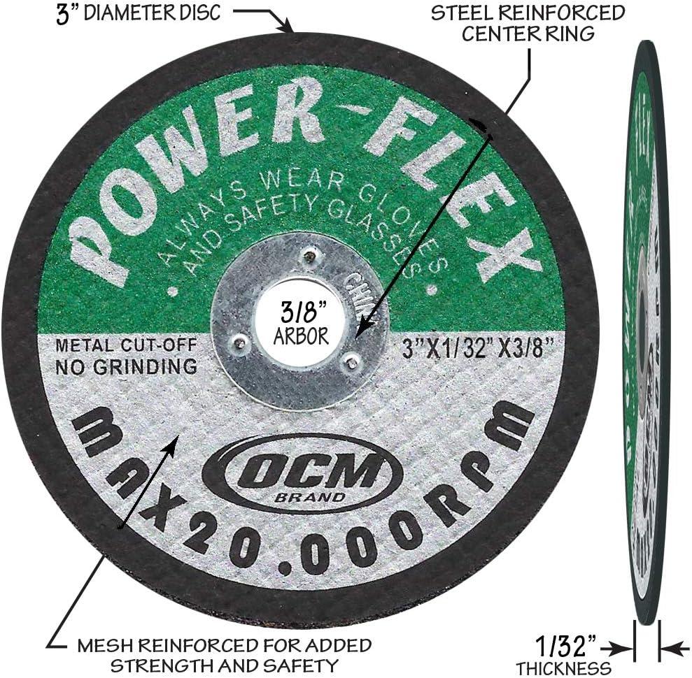 "For Premium Cut Off Wheels 3/"" x 1//32/"" x 3//8/"" Arbor OCM Brand 20 PACK"