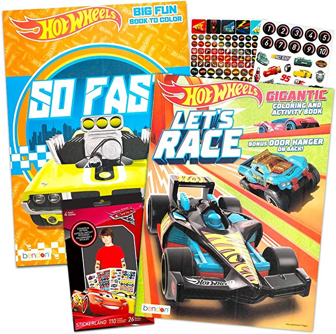 Amazon.com: Hot Wheels Coloring Book Set -- Coloring Book, Temporary  Tattoos And Bonus Stickers Party Supplies: Toys & Games