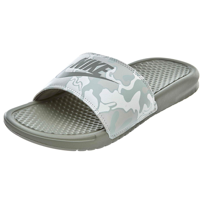 brand new 4a109 68e92 Amazon.com  Nike Benassi Just Do It Print Mens Slide Dark StuccoGrey (US  12)  Fashion Sneakers
