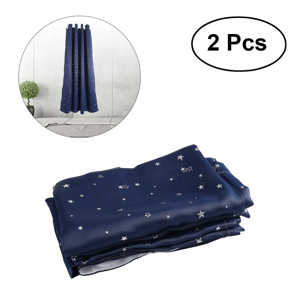 WINOMO 2個入り星プリントカーテンDrapers Room Darkening Thermal Insulated Grommet Top   B07951P6PG