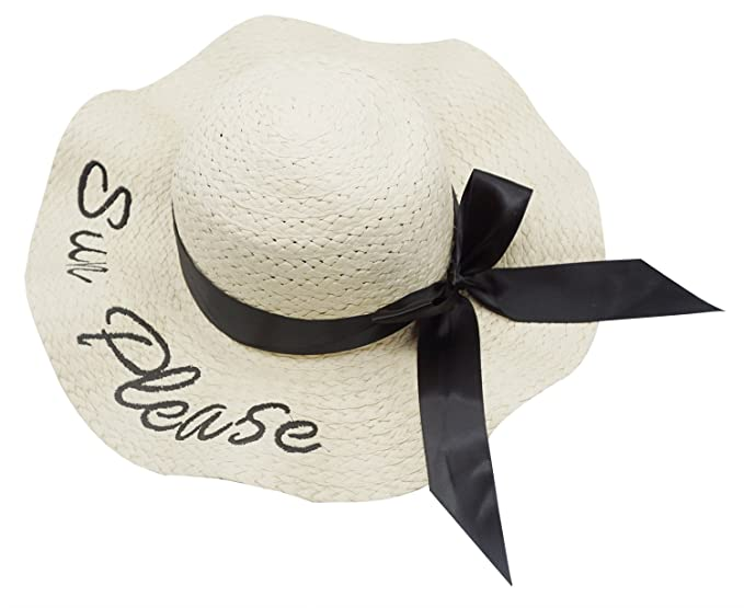 5ef00fb5f76 Bellady Women s Cursive Embroidered Letter Beach Foldable Sun Hat Straw Hats