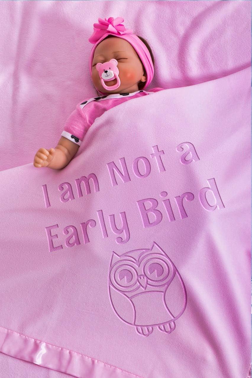 Manta de bebé con nombre, regalo para recién nacido, manta transpirable para niños y niñas, tamaño 88 x 88 cm, borde de satén, forro polar (búho/rosa) rosa rosa Talla:Funny Quotes