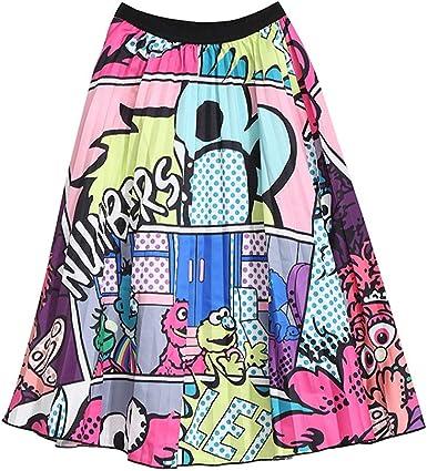 Faldas Plisadas de Graffiti para Mujer Cintura elástica Estampada ...