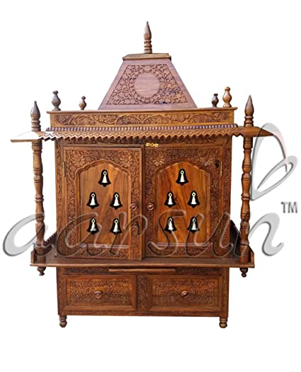 Aarsun Woods Wood Temple   Home Temple   Wooden Prayer Cabinet With Bells    Pooja Unit
