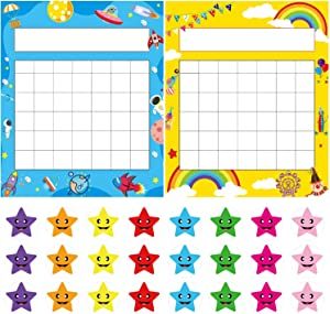 Pack of 64 Incentive Chart, Yoklili Colorful Rainbow & Space Theme Desk Incentive Pad for Classroom Teachers Students, Includes 1600 Star Stickers