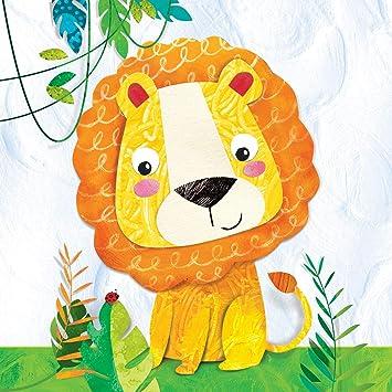 20 servilletas para cumpleaños infantil, diseño de león ...