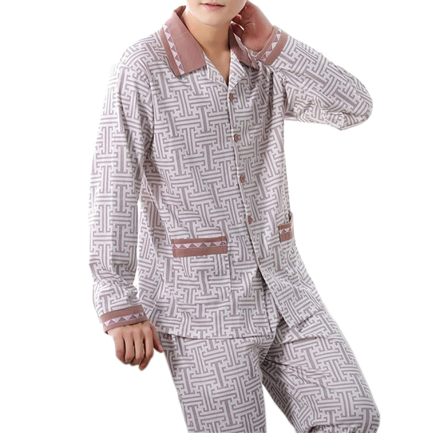 Shallow Spring And Autumn Men's Middle-aged Cotton Large Size Pajamas Home Service Suits And More Sizes