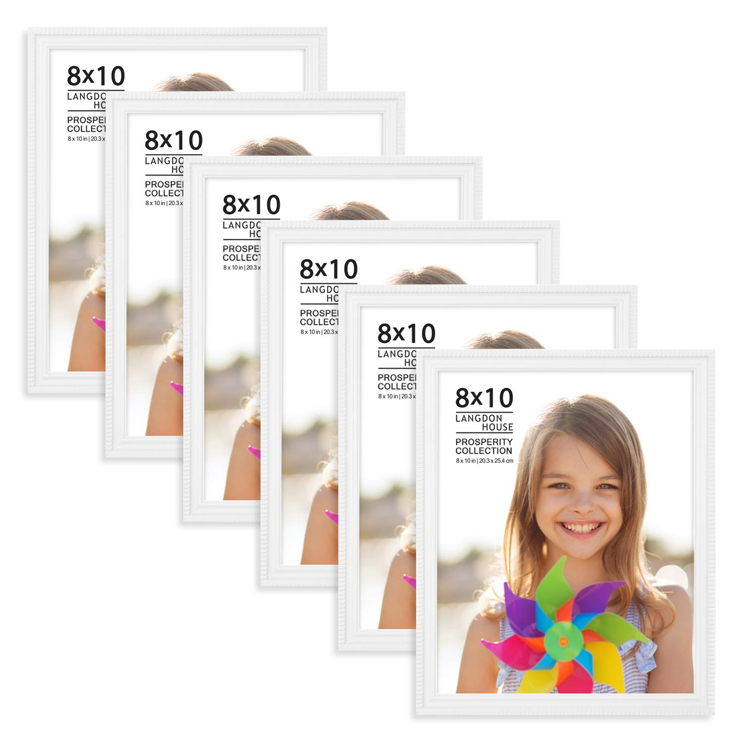 Langdons 8x10 Picture Frames (6 Pack, White) White Picture Frame Set, Wall Mount or Table Top, Set of 6 Prosperity Collection by Langdons