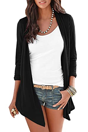 Gobought Womens Long Sleeve Basic Cardigan Knot Front Open Front Tops Blouse 14a69e83b
