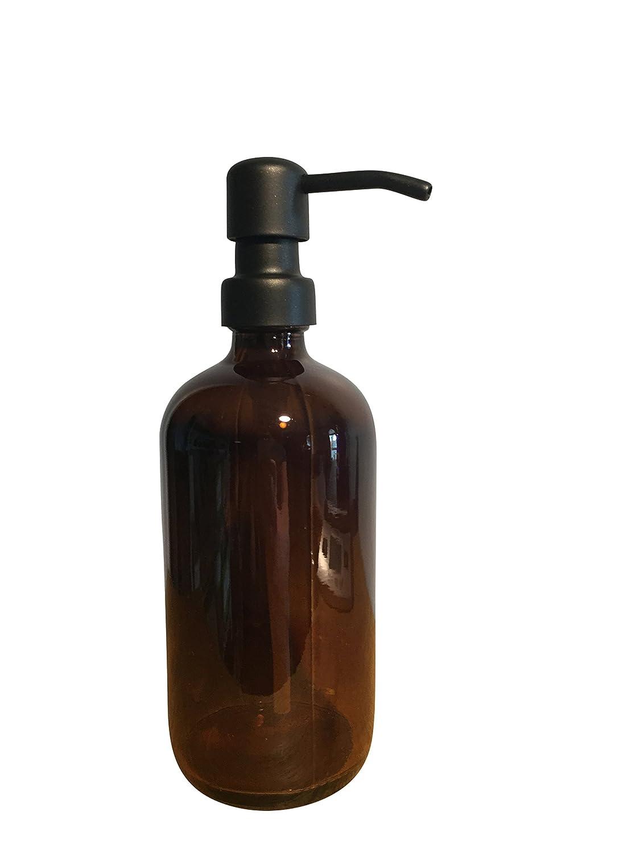 Black and Amber Soap Dispenser Bottle - 16oz Glass Bottle, Soap Dispenser or Lotion Bottle by Industrial Rewind AmbrBlk16