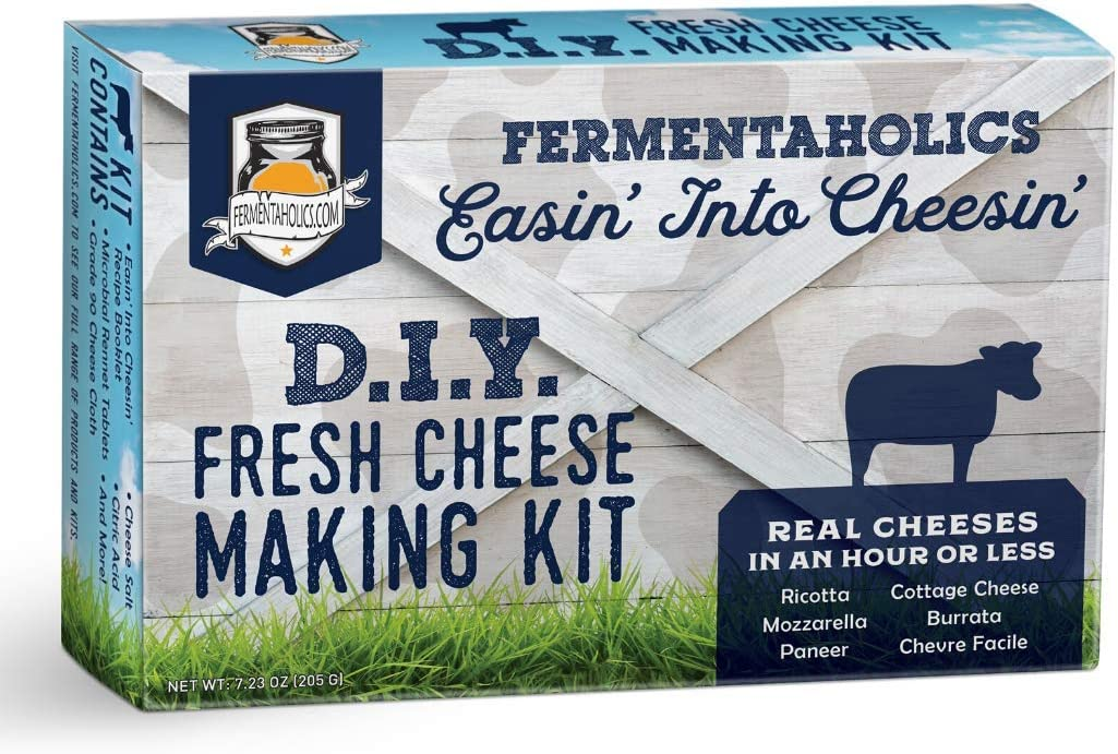 Fermentaholics DIY Fresh Cheese Making Kit - Ricotta, Mozzarella, Burrata, Paneer, Cottage Cheese, etc. - Includes Rennet for Cheese Making, Cheese Salt, Citric Acid, Cheese Cloth, & Recipe Booklet
