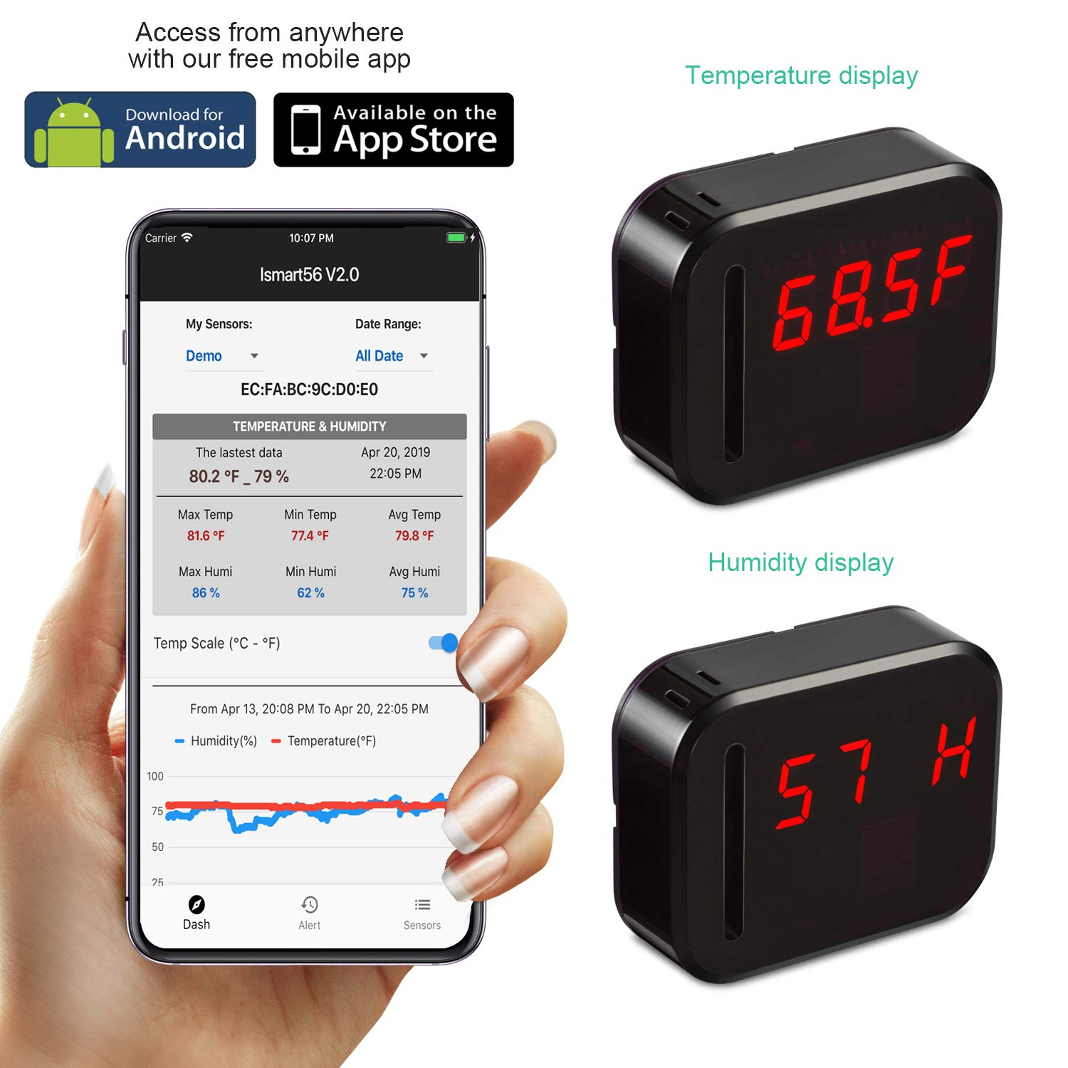 WiFi Temperature Humidity monitor, LED Digital Thermometer Hygrometer monitor, indoor/outdoor Temperature Humidity sensor with Alerts. Free iPhone/Android Apps, web browser monitor 24/7 from Anywhere