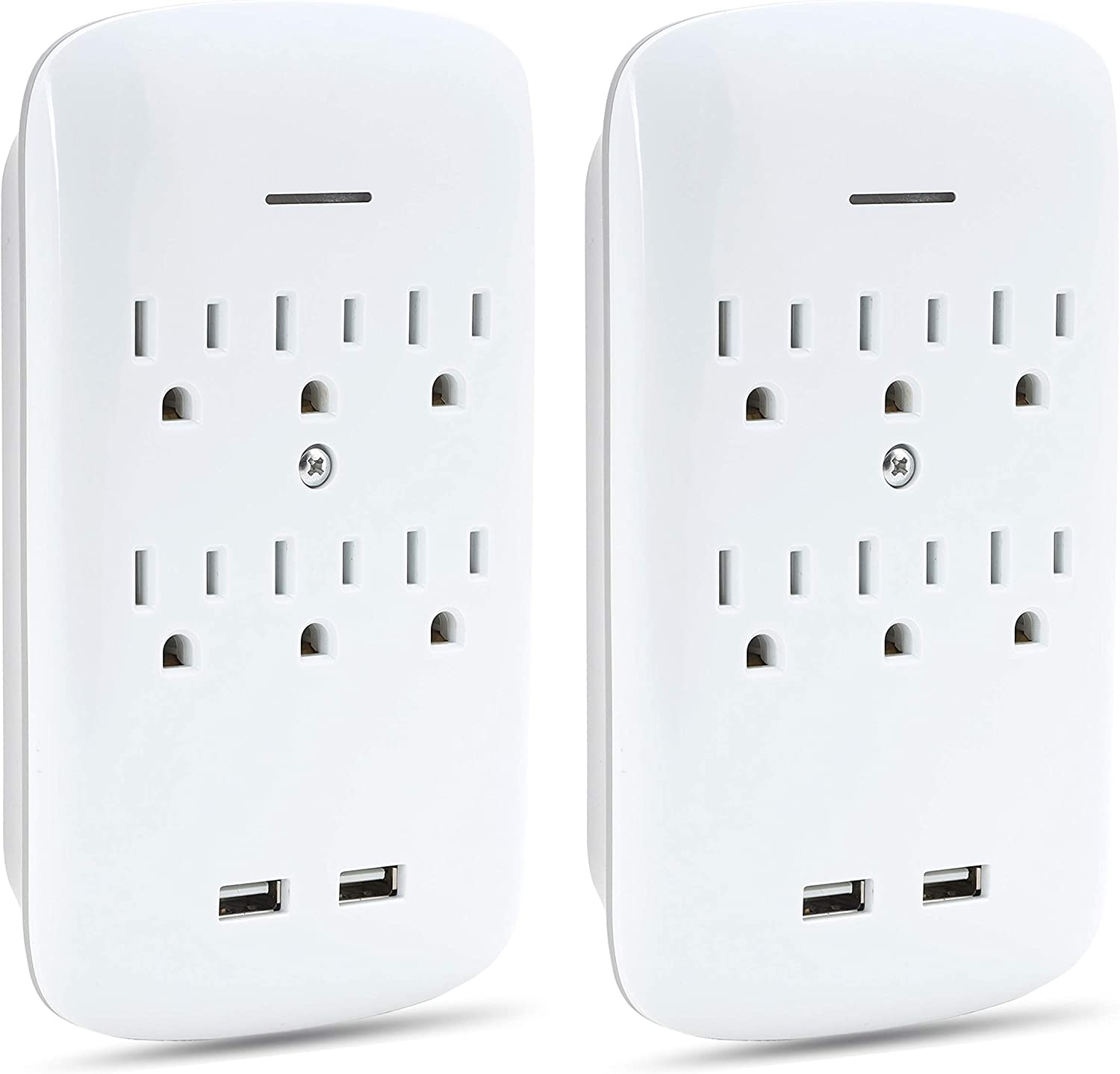 2-Pack Luxtronic 6-Outlet Wall Tap Surge Protector with 2 USB Ports 2.1A Charging Station