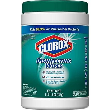Clorox - Toallitas desinfectantes, aroma fresco, 4 unidades, 105 unidades (embalaje puede
