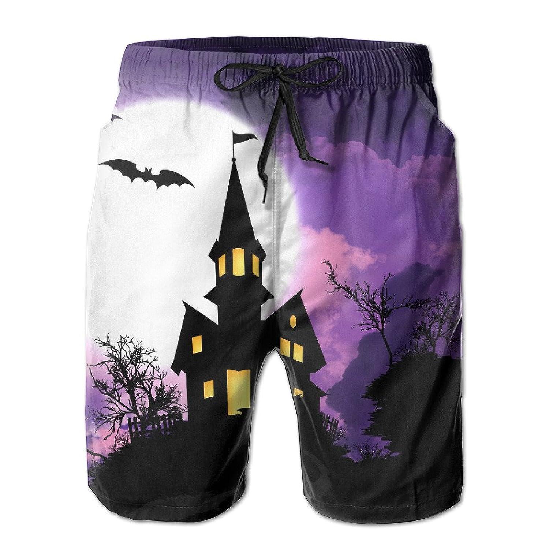 47b246760e LaiER Mens Halloween Castle Purple Night Summer Swim Trunks Beach Shorts  Board Cargo Shorts Quick-