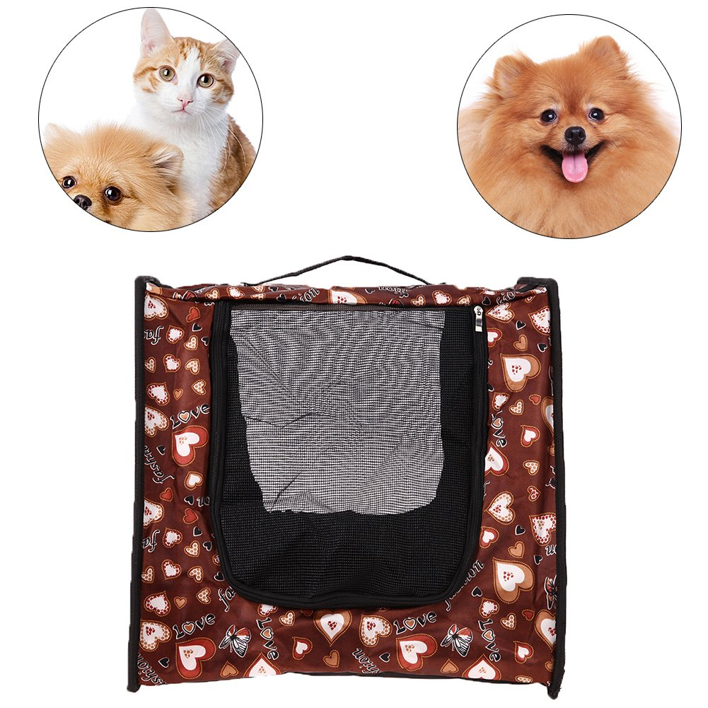Brown DomyBeste Portable Collapsible Pet Carrier Breathable Dog Cat Traveling Bag(Brown)