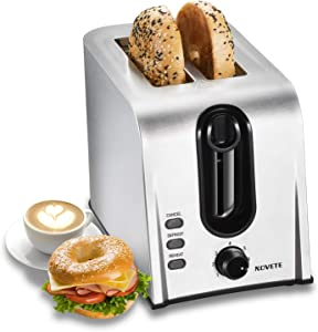 Toaster 2 Slice Best Rated Prime, NOVETE Retro Stainless Steel Toaster, 1.5'' Extra Wide Slot, 7 Shade Settings, Defrost/Reheat/Cancel Functions, Compact Bread Toaster for Breads/Bageles, 750W