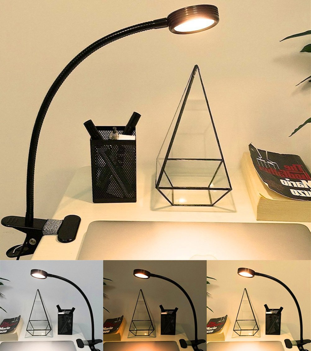 Clip On Light Desk Lamp, Florally Warm White/Cool White Colour Changeable Desktop Light (red and Blue)
