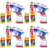 S/O® 4er Pack LED Seifenblasenpistolen incl. 2x50ml Seifenblasen Flüssigkeit Ohne Batterien Pistole Bubble Gun