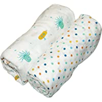 SILLY BILLYZ Muslin Swaddle Wrap, Boy, White (Pack Of 2)
