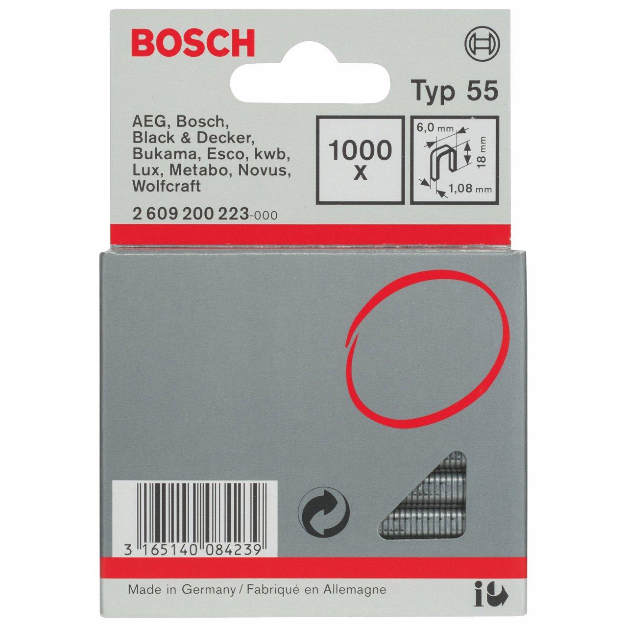 Bosch 2609200223 Fine Wire Staple 18x6mm 1000 Pcs