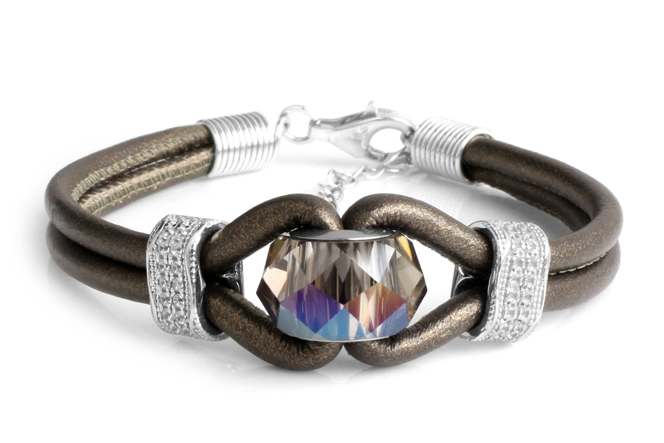 Bracelets Swarovski Genuine Leather 3mm 2Line Womens Find Your Fit Round Z2661 (15 Centimeters)