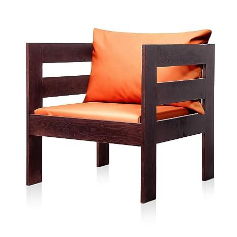 SUENOSZZZ - Sofa Jardin de Madera de Pino Color Nogal, MEDITERRANEO Mod. sillón, Sillon cojín Polipiel Color Naranja. Muebles Jardin Exterior. Silla ...