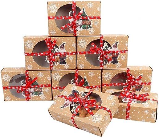 Confezioni Per Regali Di Natale.Ourwarm 12 Pezzi Scatole Per Biscotti Di Natale Con Finestra Trasparente 2 Scatole Regalo In Carta Stile Per Regali Di Natale Amazon It Casa E Cucina