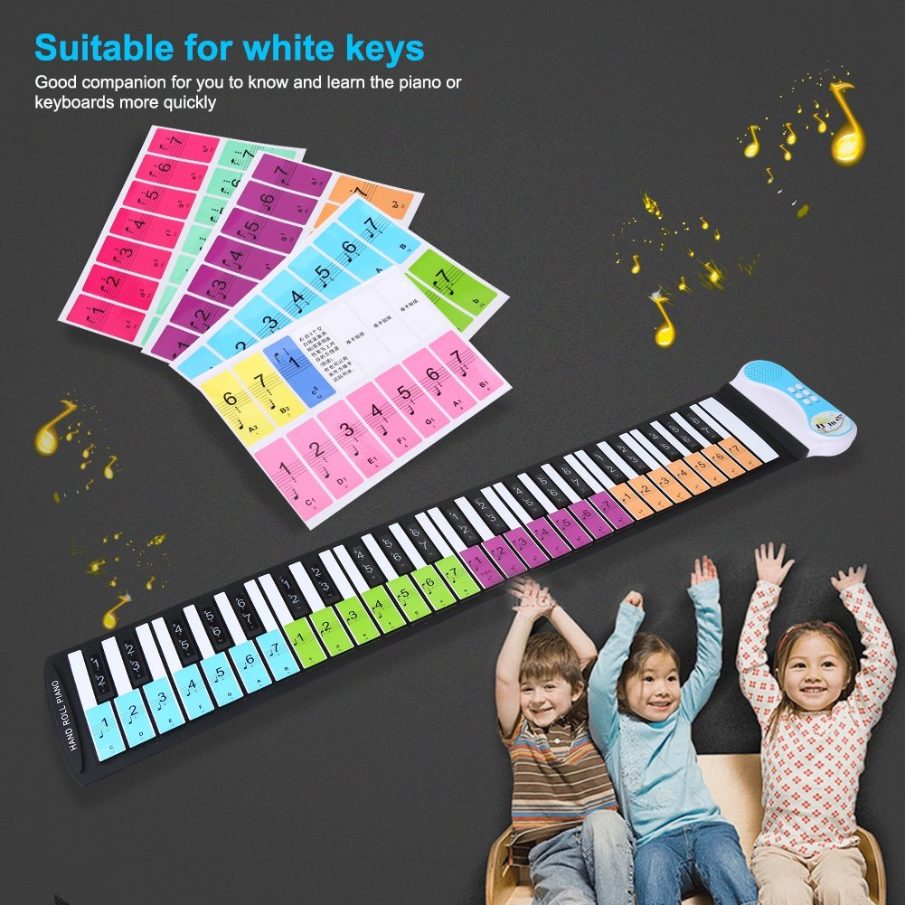 4f5728ce242 VGEBY0hpwquntab-01 Colorful Removable 88 Keys Piano Electronic Keyboard Note  White Keys Stickers Labels for Beginners