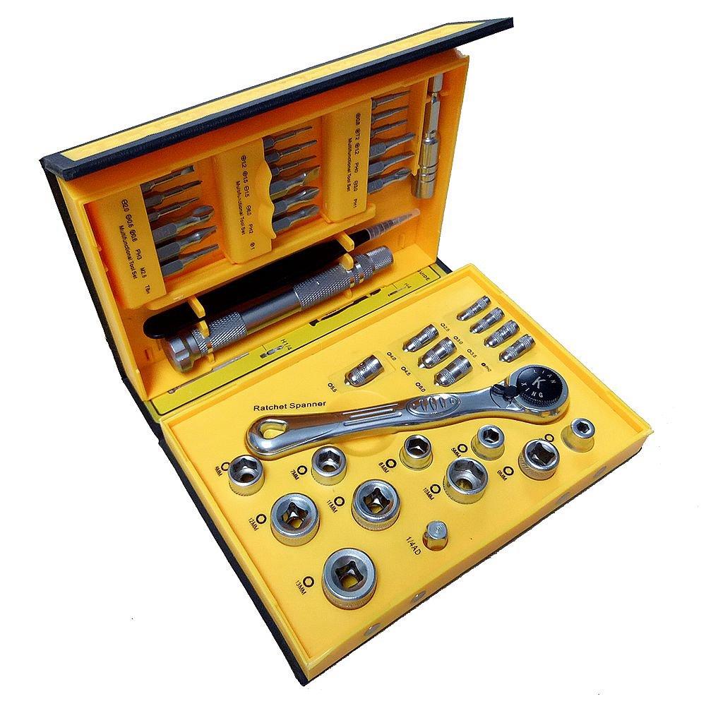 41 Piece Mini Flex-Head Ratchet Tool Set with Micro Screwdriver Bits /& Metric Socket Sets