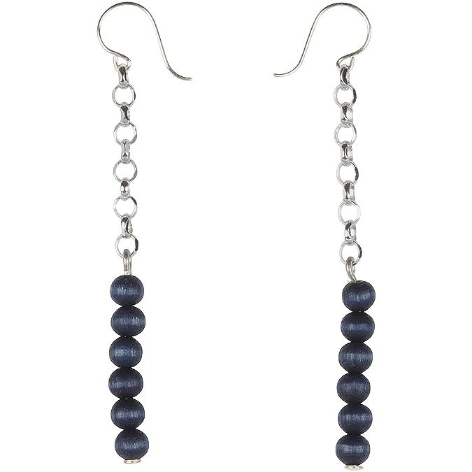 Aarikka ARIEL earrings with wooden beads, 7 cm long, white