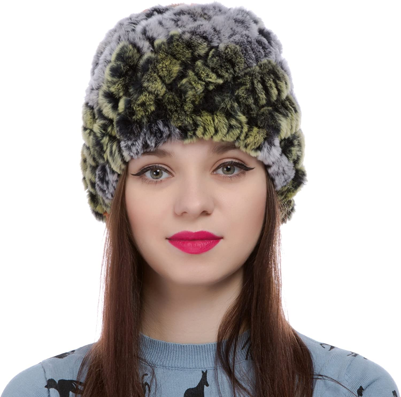 Fur Hat For Women Natural Rabbit Beanies Genuine Warm Winter Cap Knitted Pom Pom