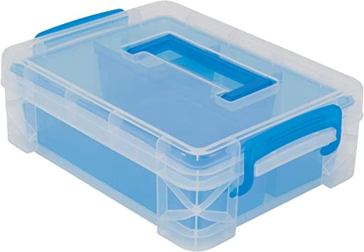 Advantus Super Stacker Divided Storage Box Clear w//Blue Tray//Handles 10.3 x 14