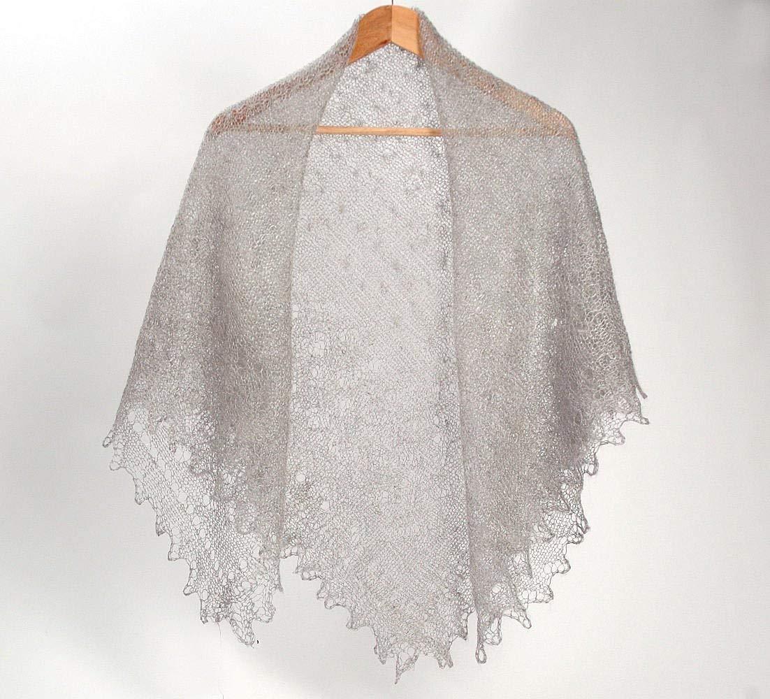 orenburg shawl knitted shawl knitted scarf knitted scarves wool shawl gray