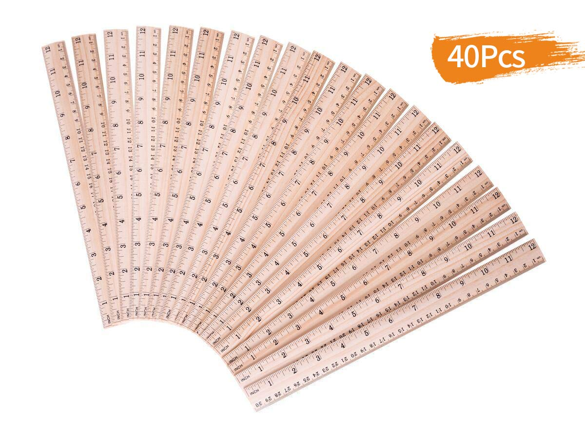 Salare 40 PCS Pack Wood Ruler for School /Office /Student Wooden Measuring Ruler,  with 2 Scale (12 Inch and 30 cm)