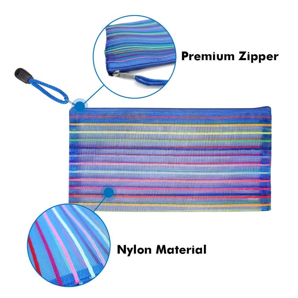 Selizo 6 Pcs Pencil Pouch Plastic Pencil Cases Zipper Mesh Pouch Bag