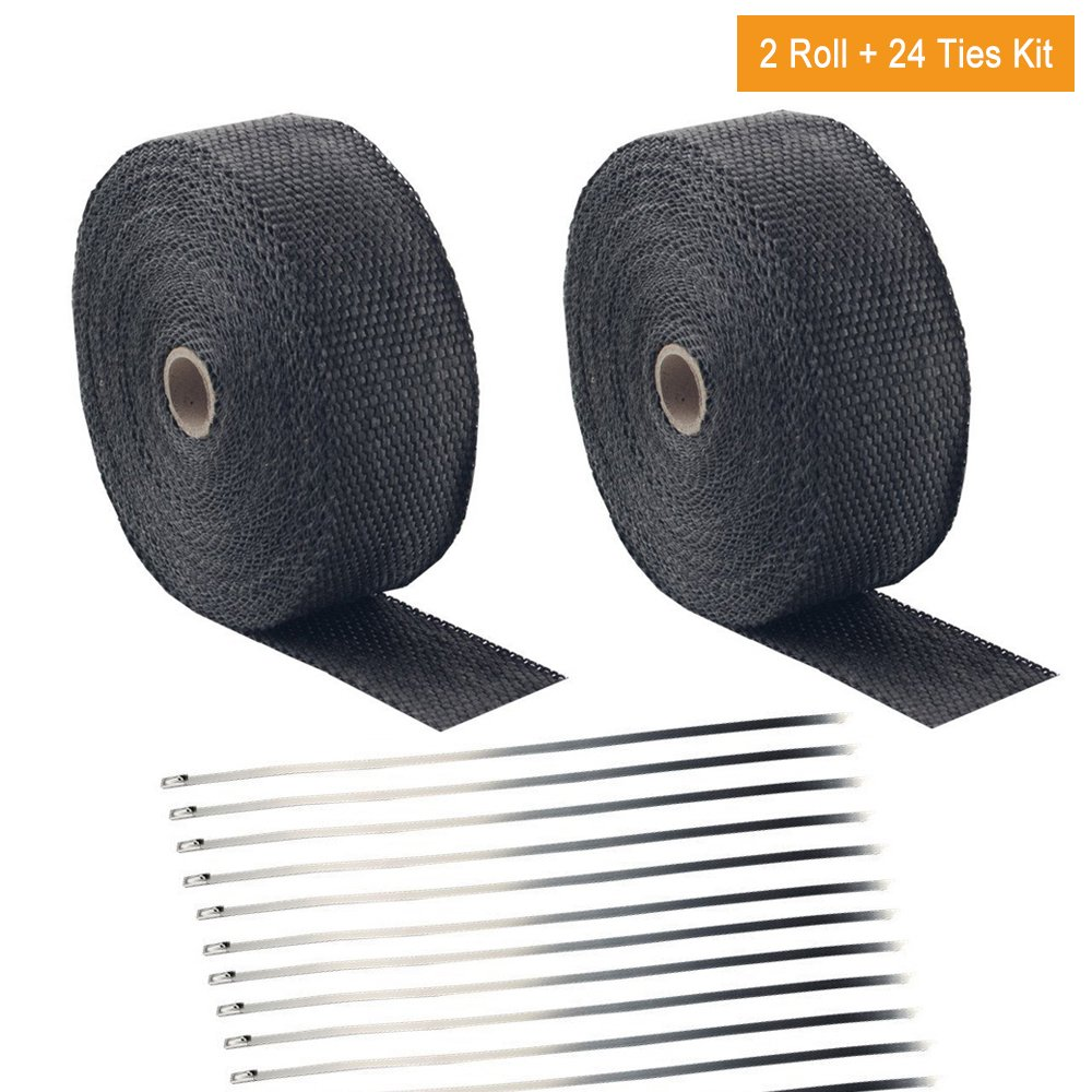 Foneso 2'' x 50' Black Exhaust Heat Wrap Roll for Motorcycle Fiberglass Heat Shield Tape with Stainless Ties (2 Roll + 24 Ties Kit)