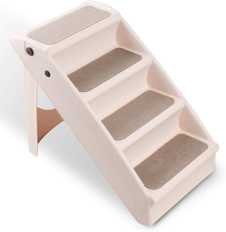 Pet Prime, escaleras plegables para perros, 4 escaleras, plegables, ligeras, de plástico, para mascotas, escaleras, perros, gatos, plegables, escaleras básicas: Amazon.es: Productos para mascotas