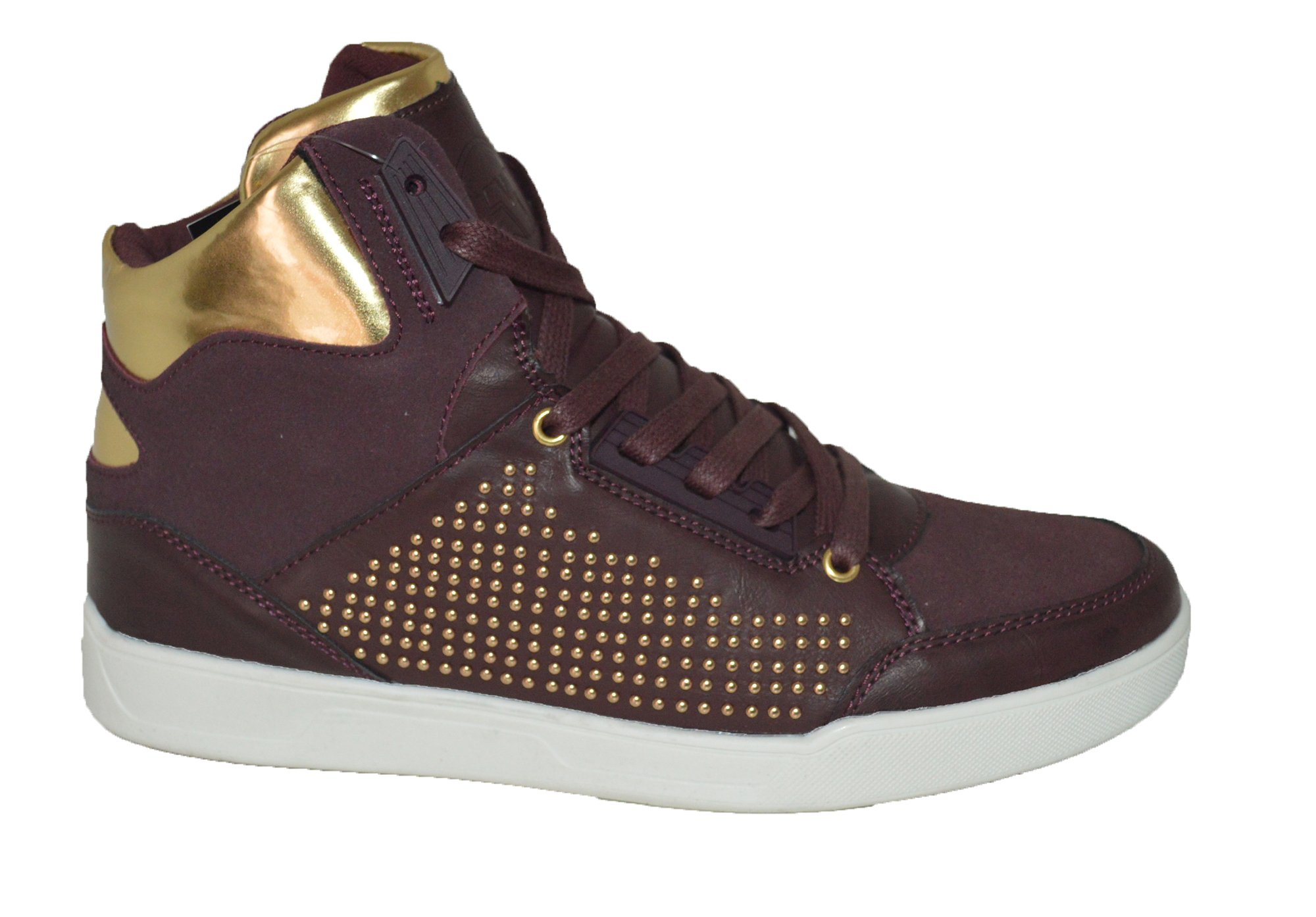 Mecca ME-8060 EAN Men's Mixed Media Studded Lace up High Top Sneakers.,Wine,10.5 D(M) US