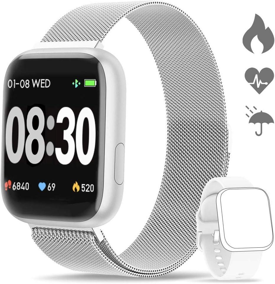 WWDOLL Smartwatch, Reloj Inteligente IP67 con Monitor Rítmo Cardíaco Sueño Podómetro Notificaciones, Reloj Deportivo 1.4 Inch Pantalla Táctil Completa Hombre Mujer para iOS y Android