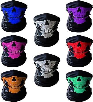 Xpassion 8 Pezzi Bandana Maschera Antivento Stretchable Skull Face Mask Traspirante Seamless Scaldacollo Tubolare Met/à Viso di Halloween Sciarpa per Bici Motocicletta Sci Sport
