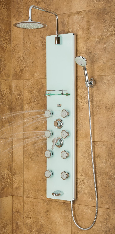 PULSE 1030 ShowerSpas White Glass Shower Panel   Lahaina Shower Spas      Amazon.com